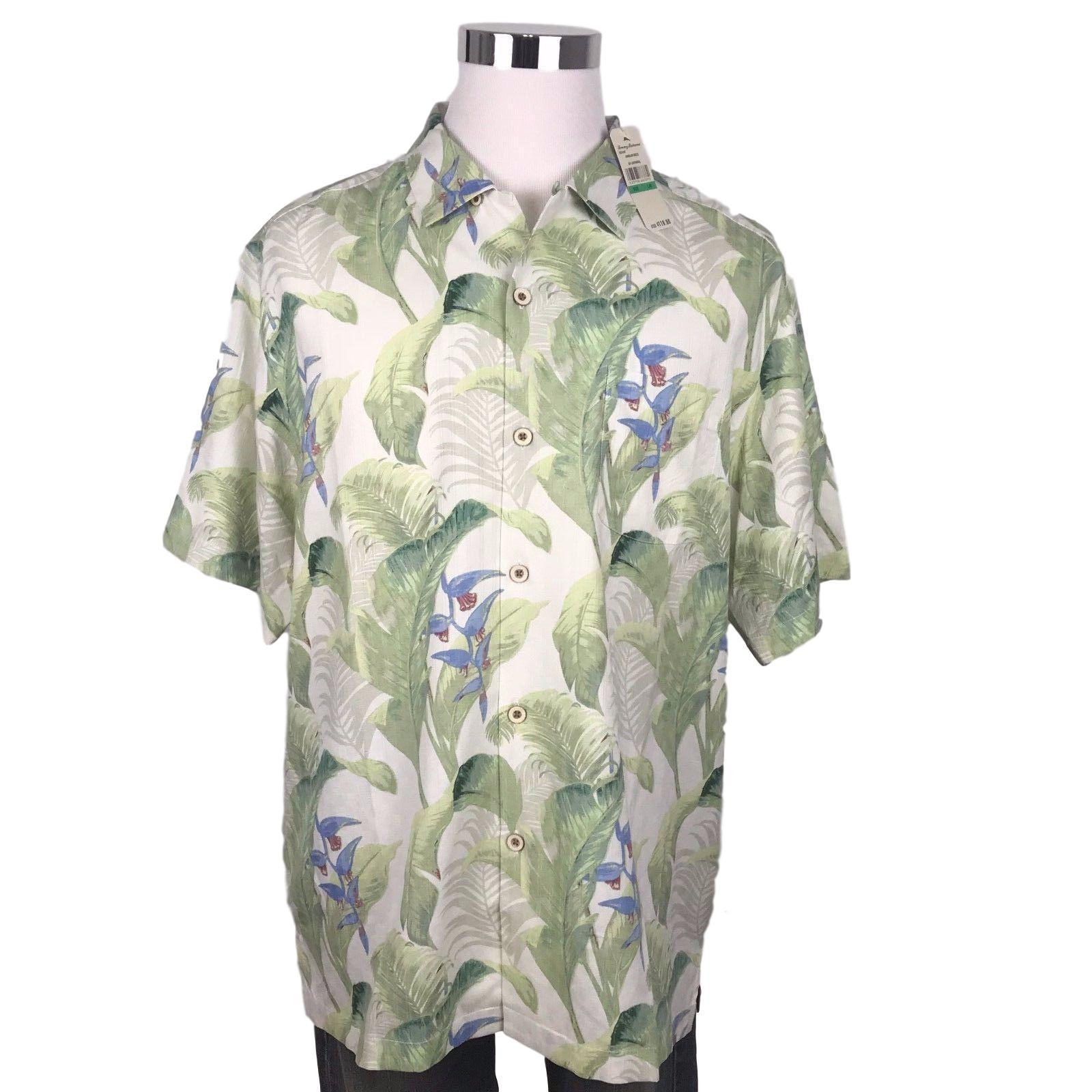03f26919 Tommy Bahama Silk Hawaiian Camp Shirt Size Large Mens Bungalow ...