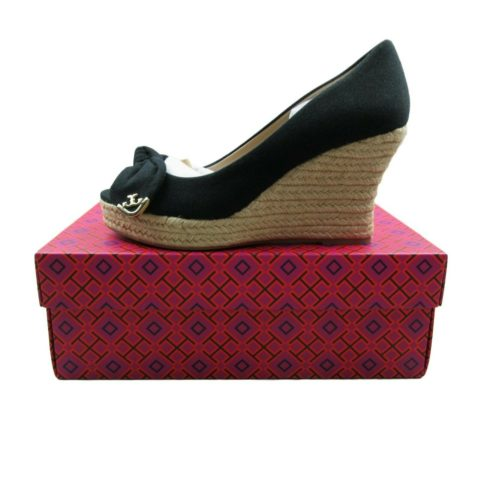 5422d504534 Tory Burch Dory 85mm Wedge Espadrille Size 8 Black Canvas Bow Peep ...