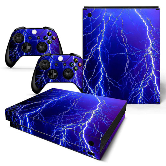 xbox-one-x-skin-console-2-controllers-thunder-lightning-decal-vinyl-wrap