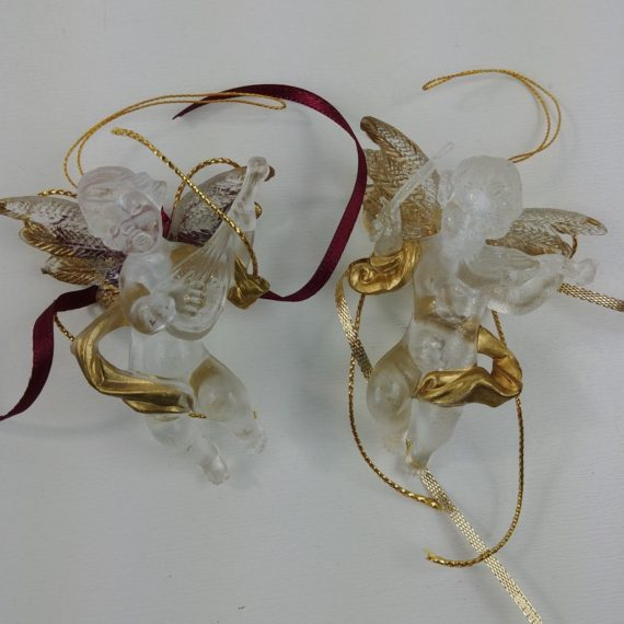 2-christmas-ornaments-angel-cherubs-musical-winged-clear-floral-lot-53