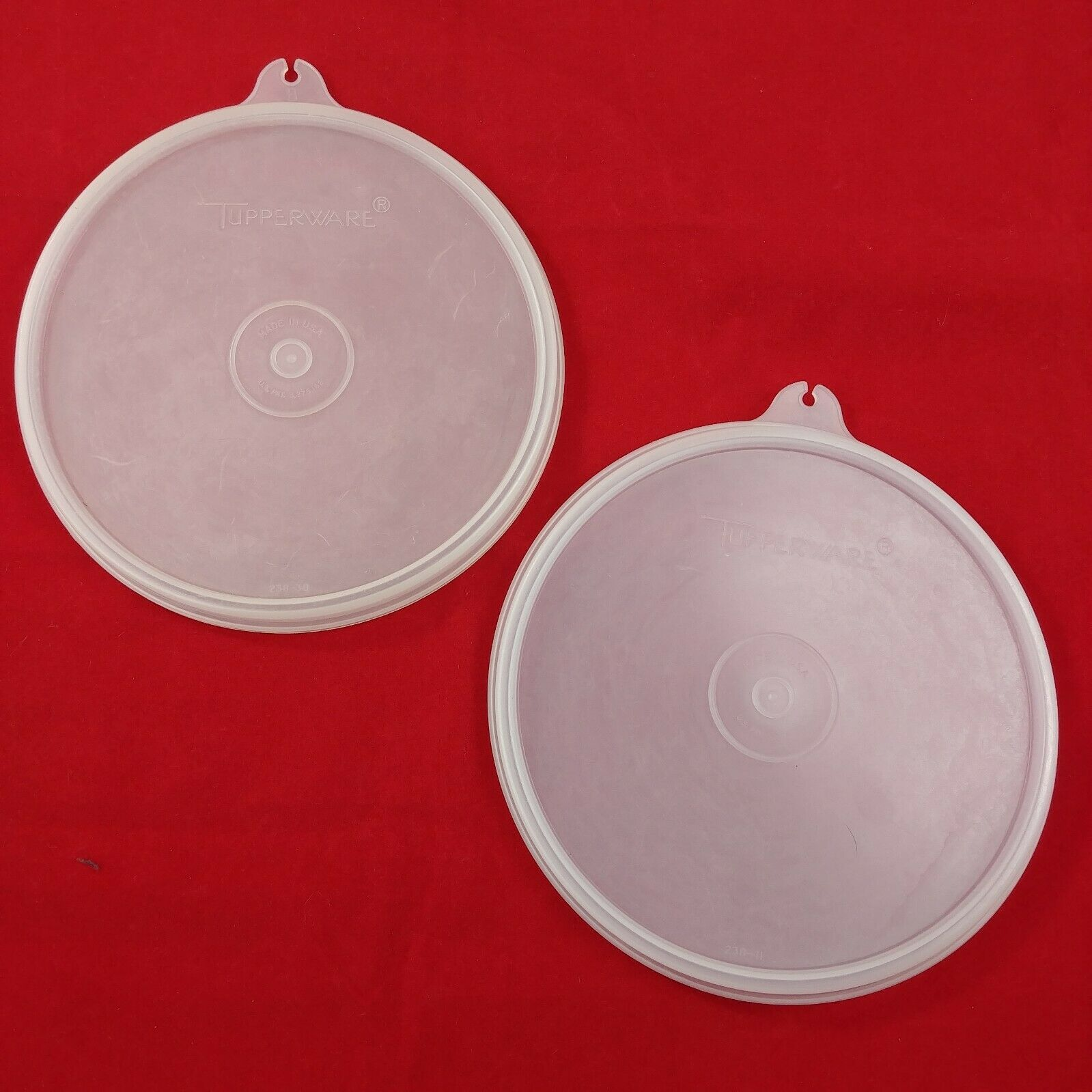 2 Clear Lid Tupperware Sheer B Replacement Lids 238 Vintage Lot