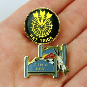 2-dart-pinback-lot-vintage-1-hat-trick-1-3-in-a-bed-pins-03