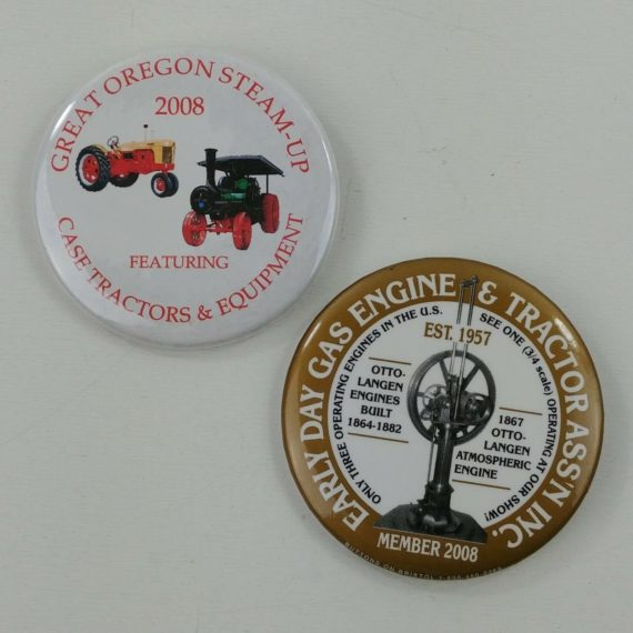 2-early-day-gas-engine-tractor-pinback-button-pins-member-2008-steam-up-2