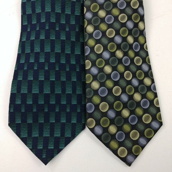 2-mens-neck-ties-alfani-silk-havana-italy-polyester-green-blue-15