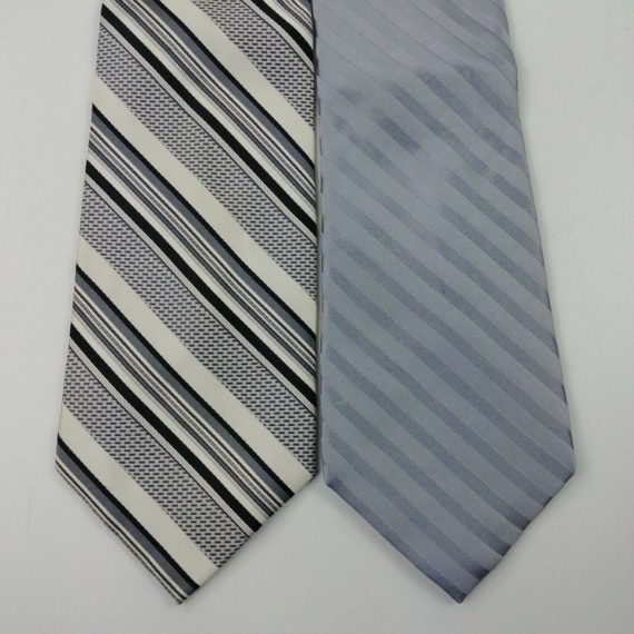 2-mens-neck-ties-campia-moda-arrow-gray-silver-white-stripes-silk-17