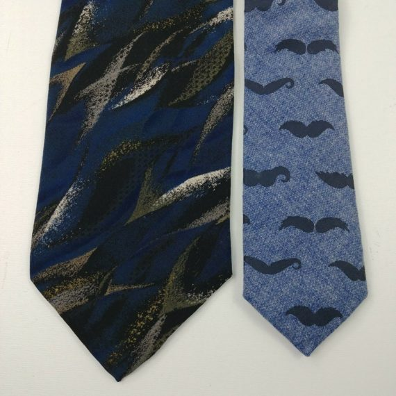 2-mens-neck-ties-old-navy-mustaches-arrow-art-deco-blue-black-gray-18