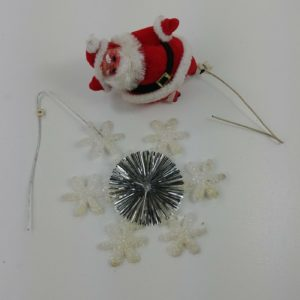 2-vintage-christmas-picks-flocked-santa-snowflake-decoration-18