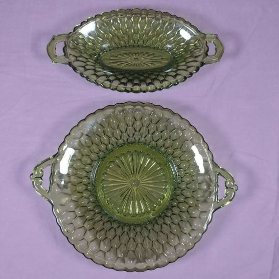 2-vintage-emerald-forest-green-pattern-candy-dishes-bowls-with-handles
