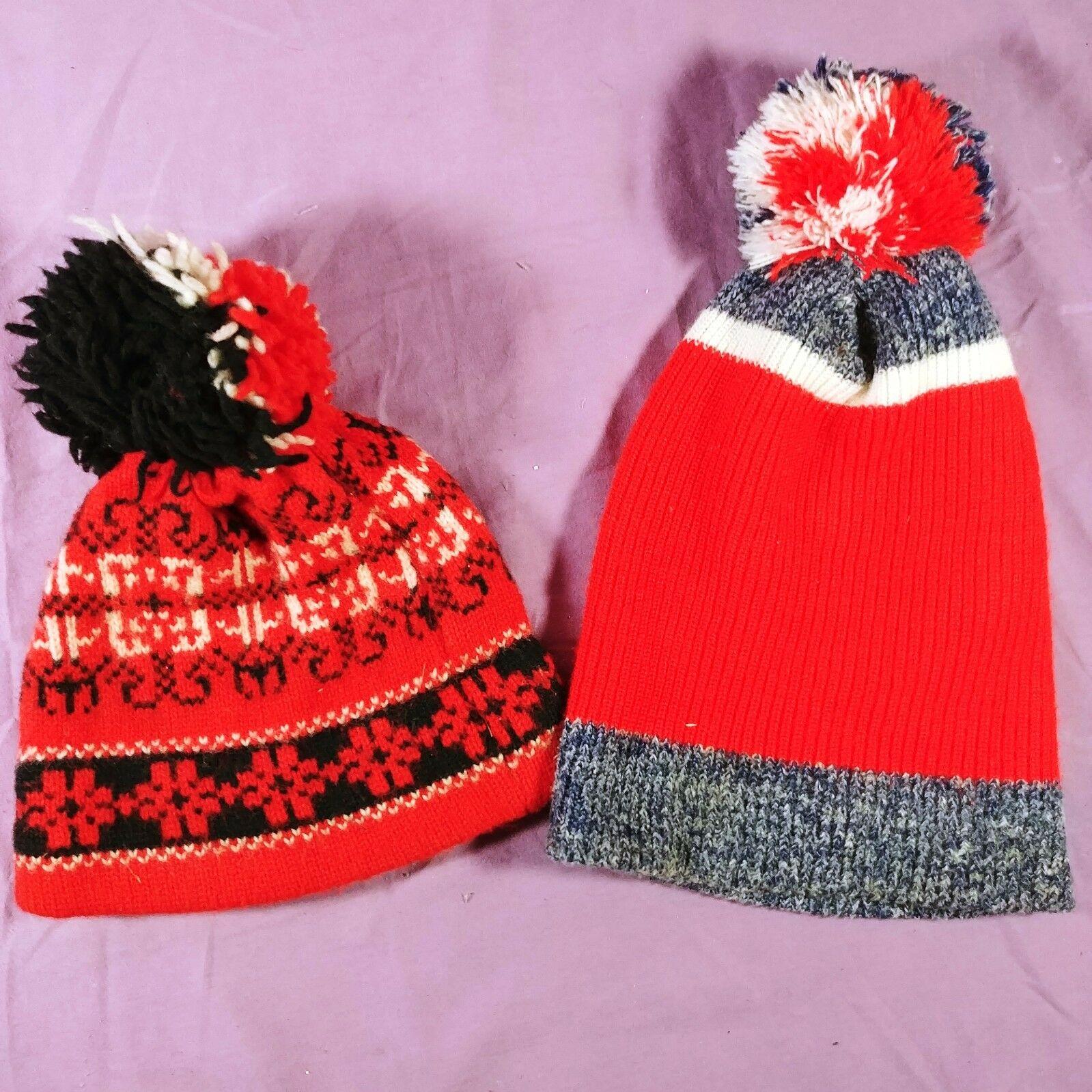 27ef22503bced4 ... Winter Pom Pom Red White Black. 🔍. 2-vintage-knit-beanie-knit-cap-hat -warm-