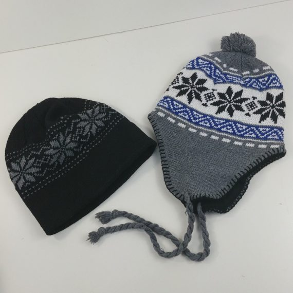 2-winter-hats-over-ear-knit-flaps-beanie-dark-black-grey