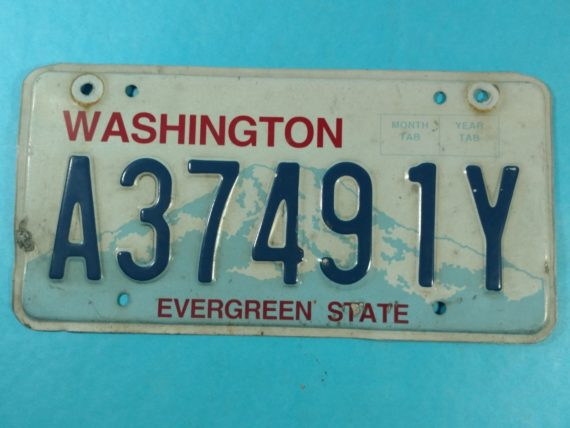 2001-license-plate-single-washington-state-a37491y-evergreen-state