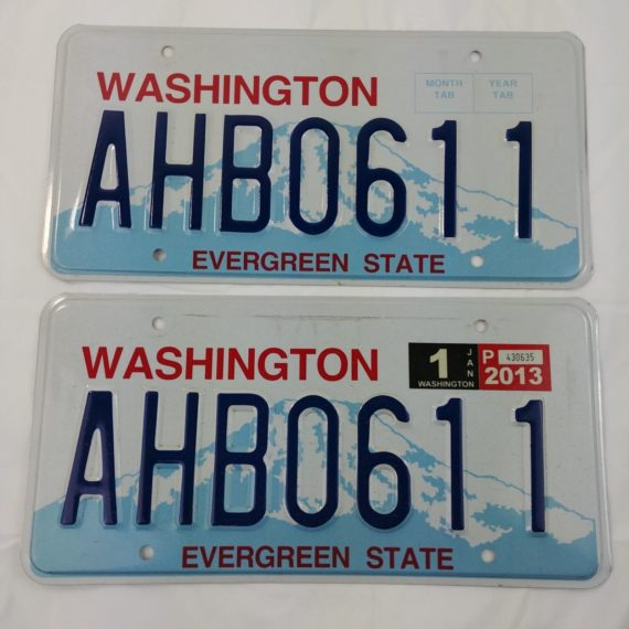 2013-license-plate-washington-state-evergreen-state-set-custom-ahb0611