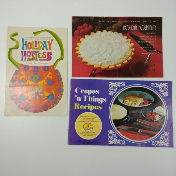 3-holiday-hostess-recipes-cookbooks-betty-crocker-crepes-vintage-booklets