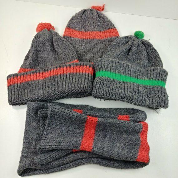 3-knit-hats-and-1-scarf-pom-pom-grey-fuzzy-warm-soft-winter-fall-orange-green