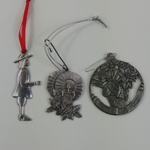 3-pewter-christmas-ornaments-lot-candles-pilgrim-seasons-greetings-lot-52