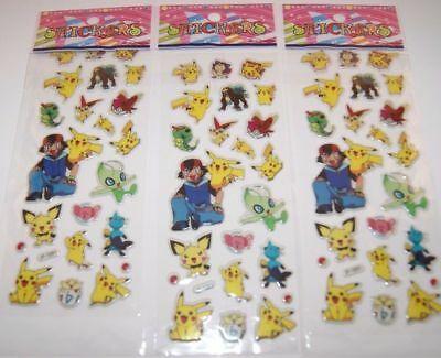 3-sheets-puffy-japan-anime-pokemon-stickers-pikachu-pocket-us-ship-lot-3