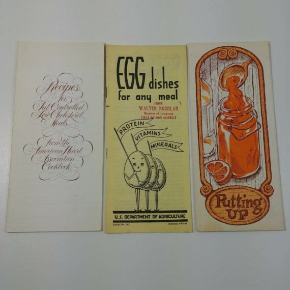 3-vintage-recipe-booklets-egg-dishes-low-cholesterol-meals-canning-freezing