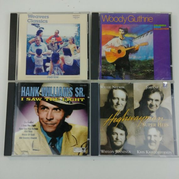4-country-folk-music-cds-weaver-woody-guthrie-hank-williams-highwayman-1