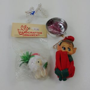 4-vtg-christmas-misc-ornaments-kneehugger-elf-diorama-beaded-dog-santa-17