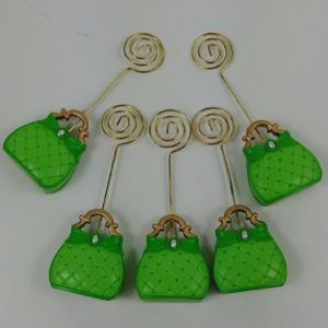 5-decorative-green-pearl-table-place-card-picture-holders-handbag-purse-tote