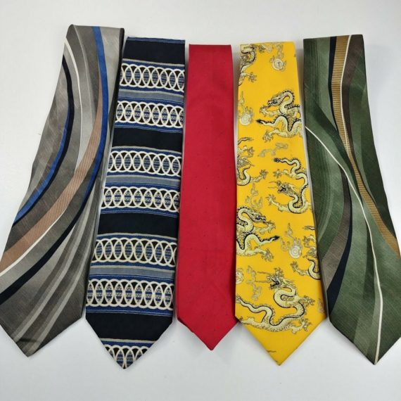 5-silk-poly-mens-ties-lot-geometric-bold-designs-yellow-dragons-lot-02