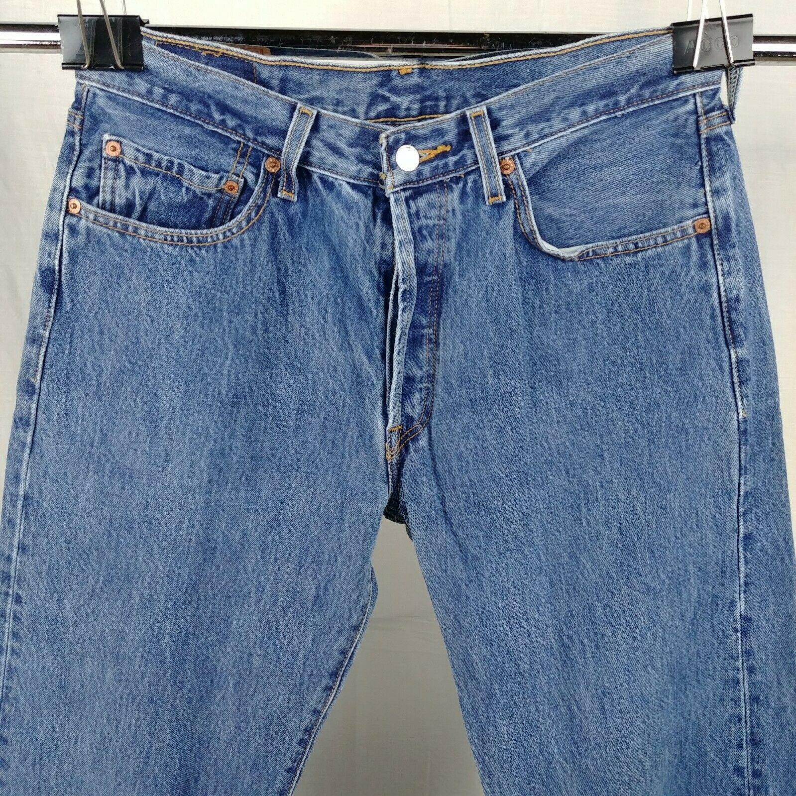 8b3232fe079b07 Levi 501 Button Fly Blue Jeans Mens Size 34 x 30 100% Cotton ...