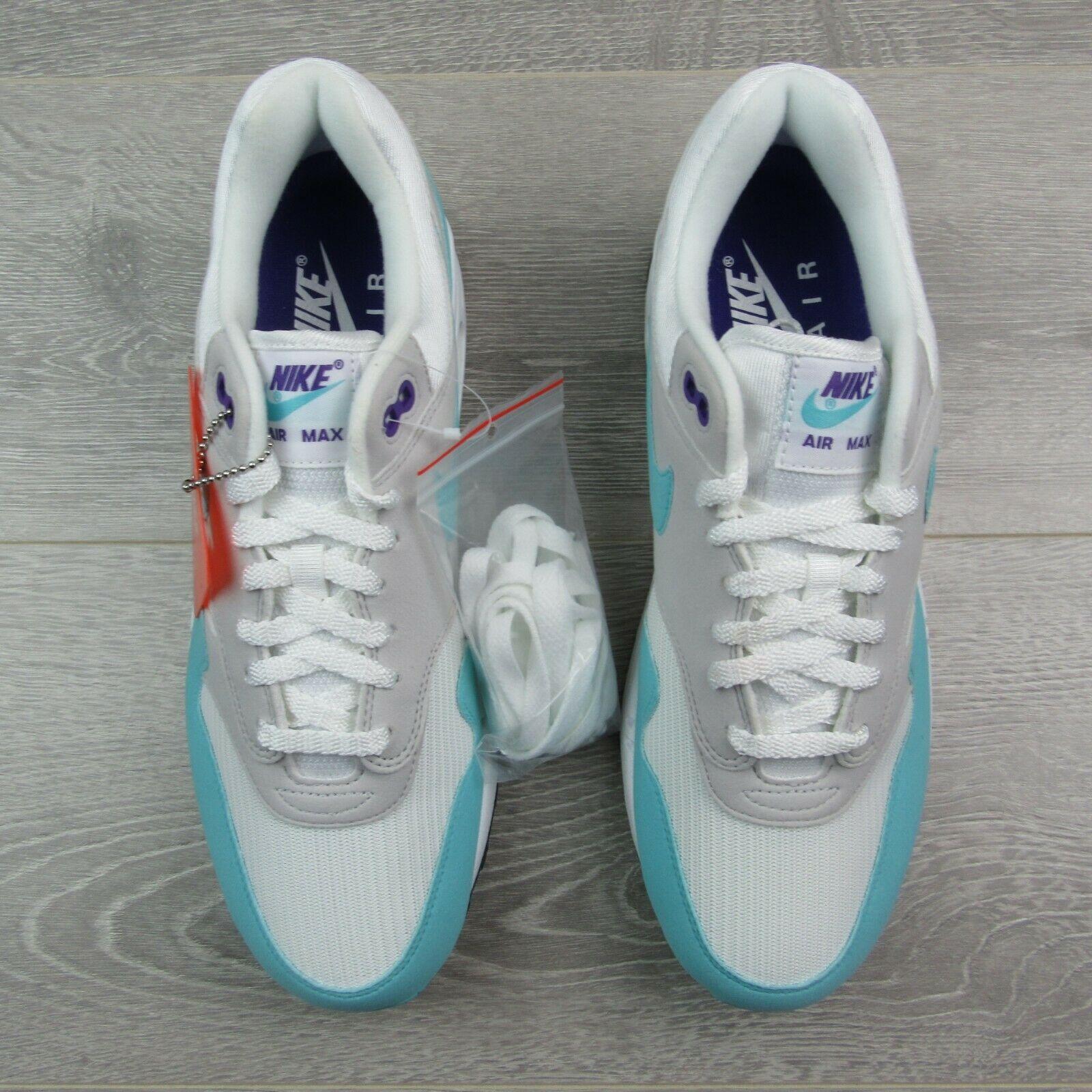 Nike Air Max 1 Anniversary White Aqua Grey Black Green Blue Sz 10.5 908375 105