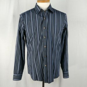 7-diamonds-mens-blue-striped-button-front-dress-shirt-embroidered-back-size-l