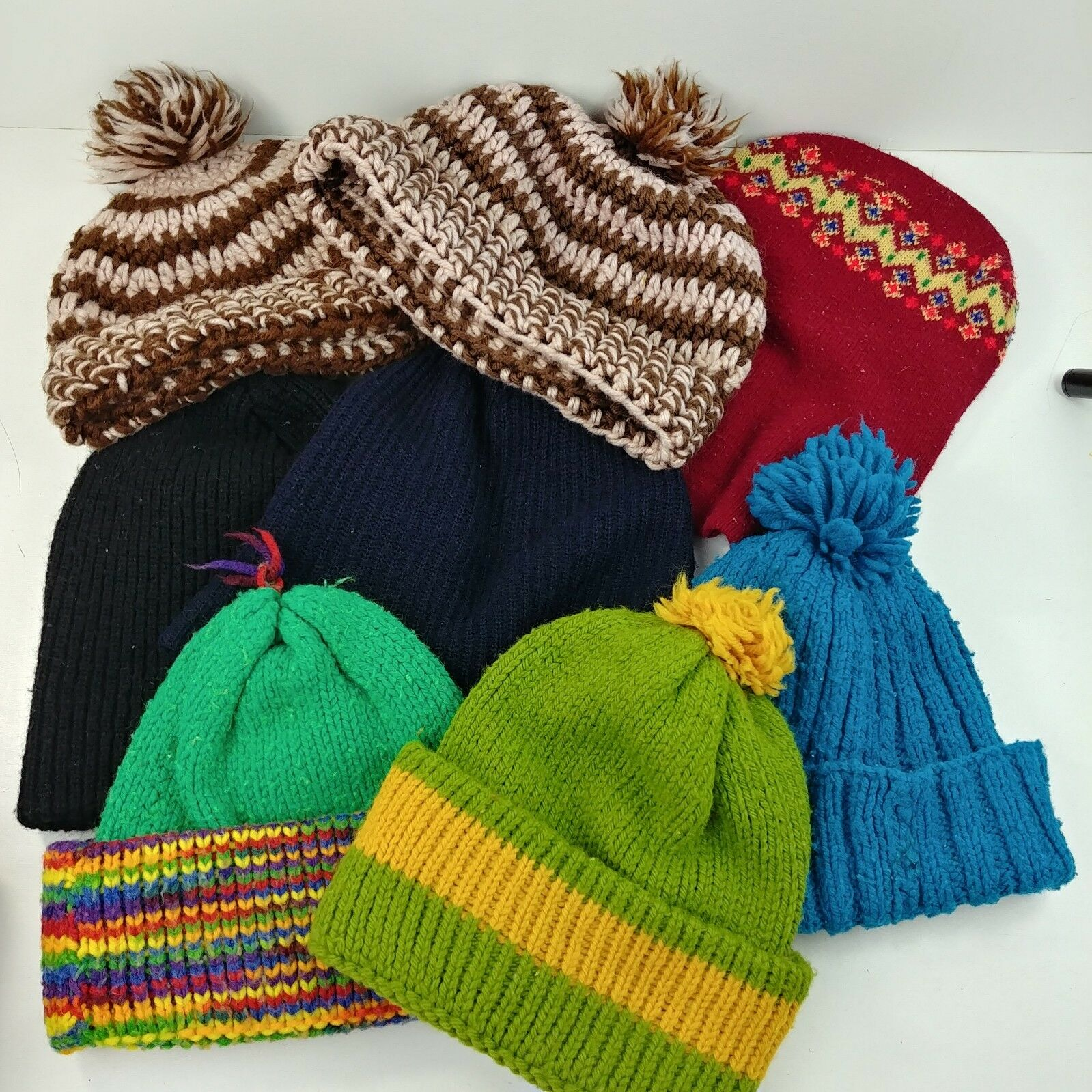 78b0b895 8 Hat Lot – Knit Face Beanie Pom Fuzzy Skull Cap Winter Rainbow