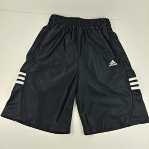 adidas-kids-athletic-shorts-small-black-white-3-stripes-10-waist-7-5-inseam