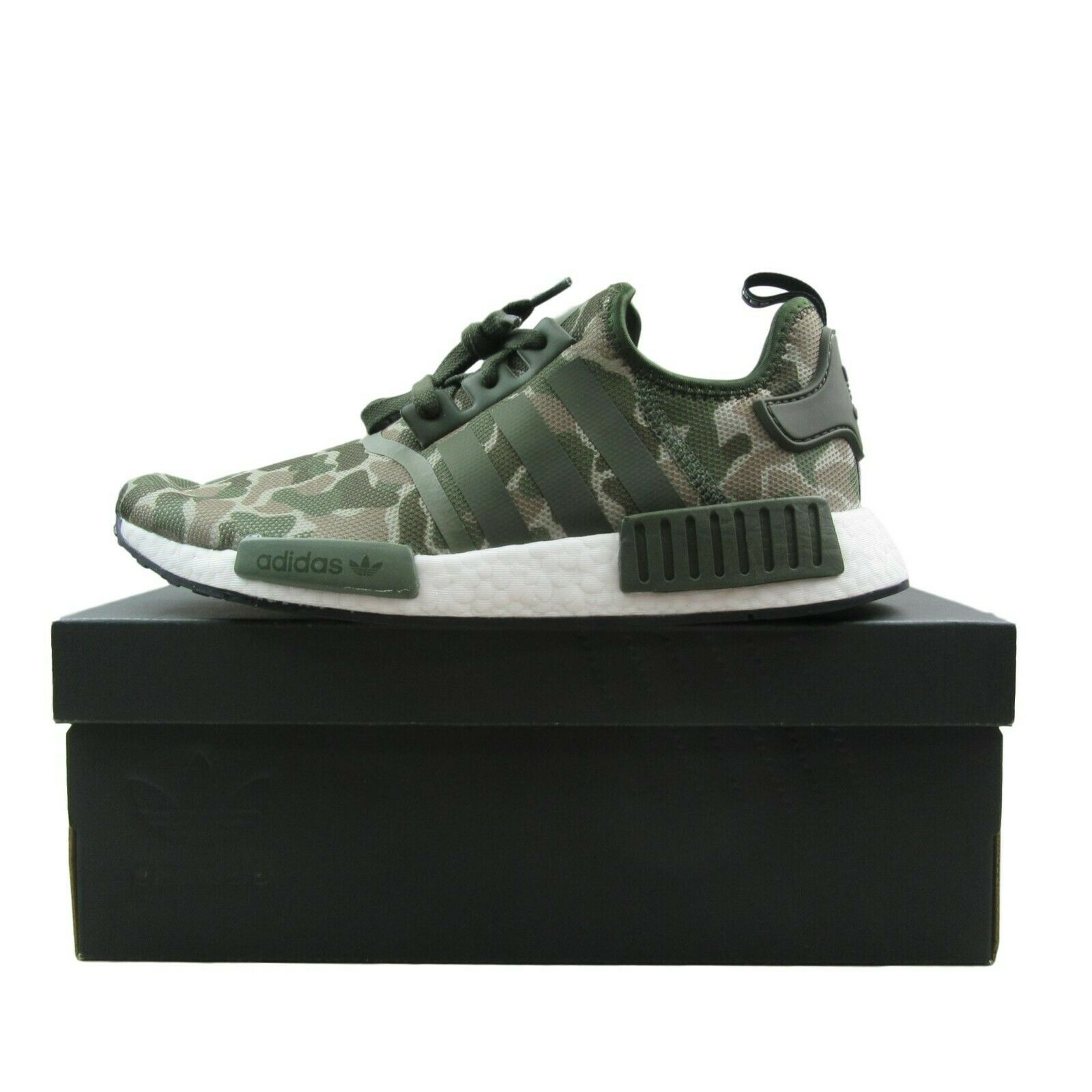 ca0809a2523f3 Adidas NMD R1 Duck Camo Running Shoes Size 9.5 Sesame Base Green D96617