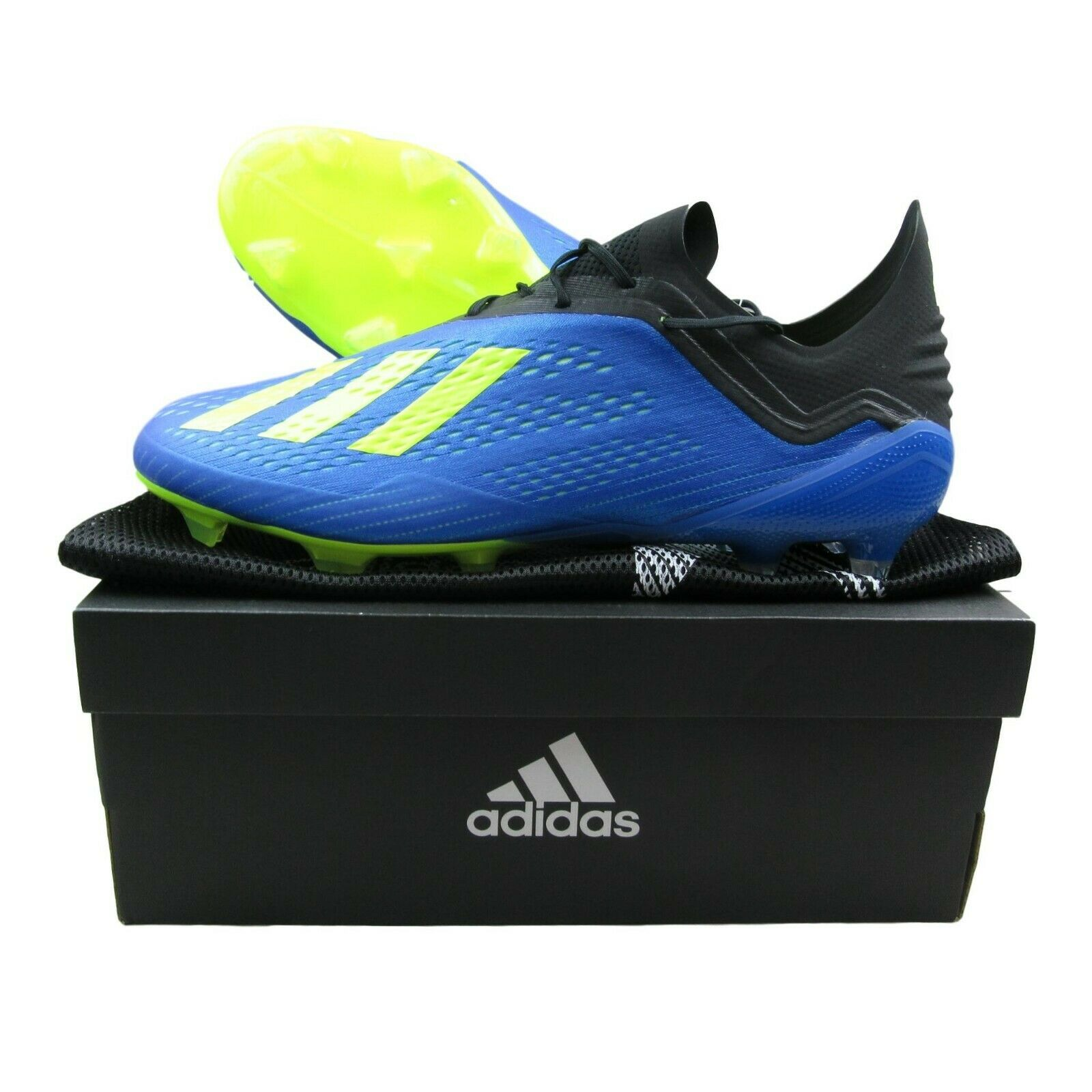 3e291708877 Adidas X 18.1 FG Soccer Cleats Blue Solar Yellow Size 10.5 Mens LMTD ...
