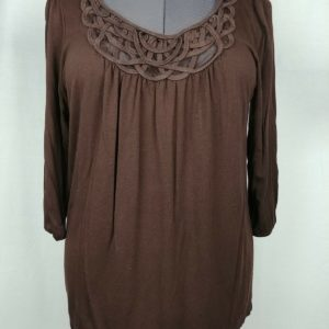 agb-brown-scoop-neck-3-4-sleeve-blouse-womens-size-l