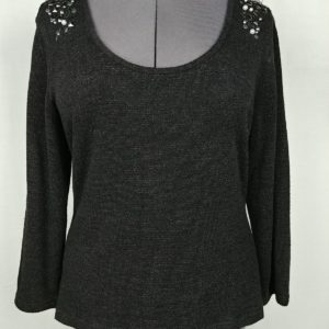 alberto-makali-black-long-sleeve-scoop-neck-bling-shoulder-womens-sweater-xl