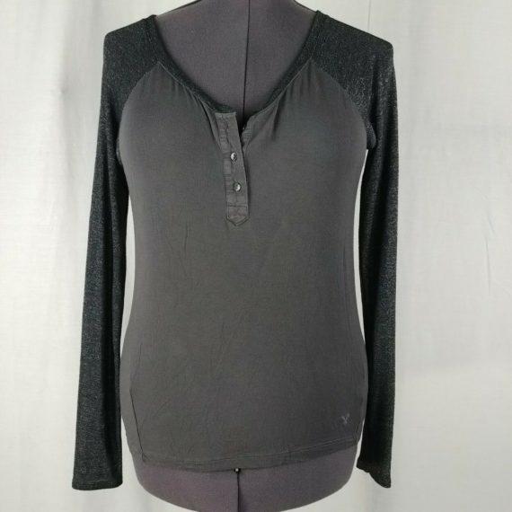 american-eagle-long-sleeve-gray-henley-blouse-womens-size-s