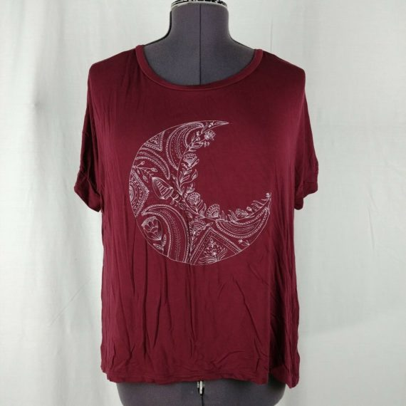 american-eagle-soft-sexy-short-sleeve-juniors-burgundy-shirt-moon-size-small-s