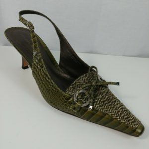 ann-taylor-womens-heels-green-brown-leather-snake-skin-pump-work-shoes-size-8-5m