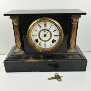 ansonia-black-cast-iron-mantel-clock-antique-works-has-rust-needs-maintenance