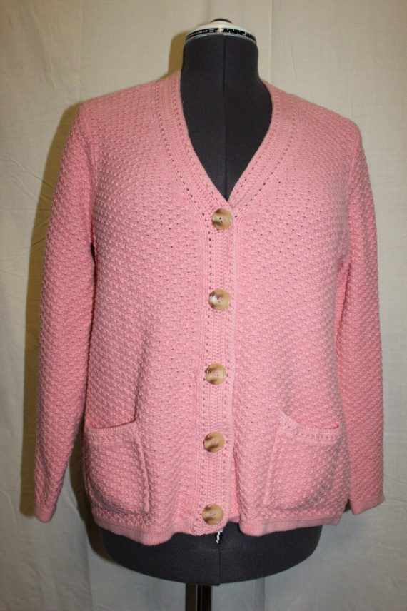 appleseeds-pink-knit-long-sleeve-womens-button-down-sweater-size-large