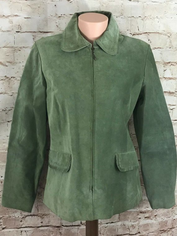 aria-womens-100-suede-leather-light-green-full-zip-lined-jacket-size-m
