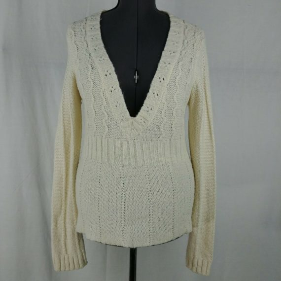 arizona-cream-deep-v-neck-sweater-chunky-knit-long-sleeve-pullover-juniors-xl