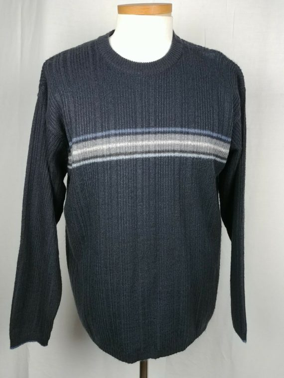 arizona-jean-co-chunky-knit-crew-neck-blue-striped-sweater-mens-size-large