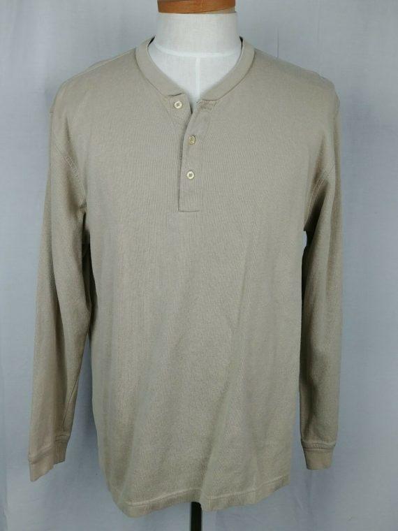 arrow-beige-long-sleeve-knit-henley-partial-buton-cotton-shirt-mens-size-l