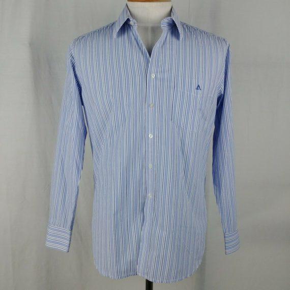 arrow-blue-striped-dress-shirt-button-up-mens-size-16