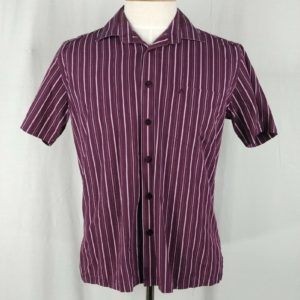 arrow-burgundy-striped-shirt-button-up-short-sleeve-mens-size-l-fitted