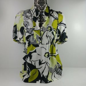 banana-republic-1-2-button-shirt-size-s-women-career-work-green-floral