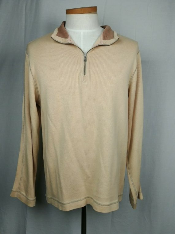 banana-republic-light-yellow-pullover-sweater-mens-size-large-partial-zip
