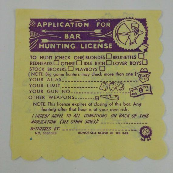 bar-hunting-license-vintage-bar-cocktail-napkin-funny-humor-picking-up-girls