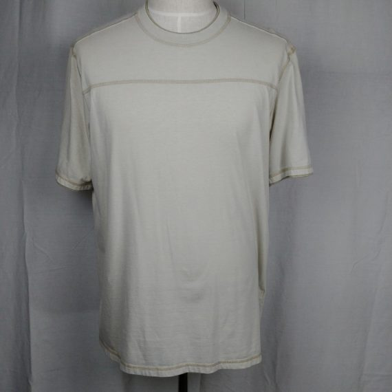 bass-mens-t-shirt-beige-classic-neckline-short-sleeve-size-xl