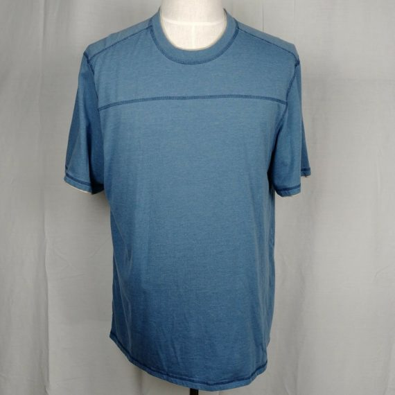 bass-mens-t-shirt-blue-solid-classic-neckline-short-sleeve-size-xl